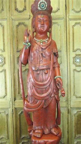 19th Qing Dynasty Wooden Guan Yin Statue with Cinn