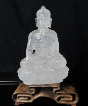 Carved Rock Crystal Figure of a GuanYin with Child