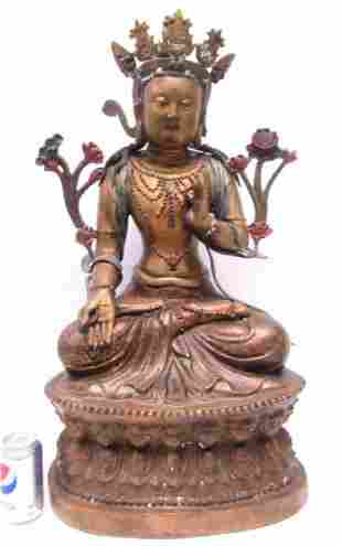 Chinese Bronze and Gold Gilt Buddha Deity Statue
