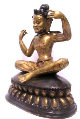 Chinese Bronze and Gold Deity Statue