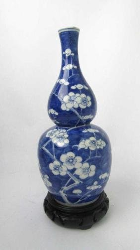 Chinese Blue & White Gourd Shaped Vase