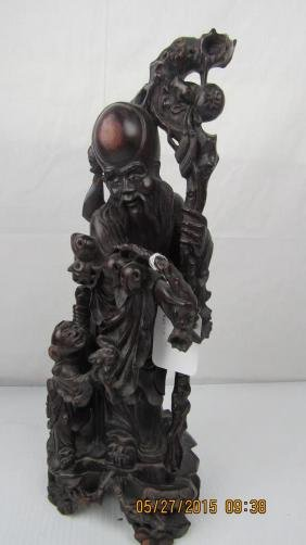 Ming Dynasty Chinese Rosewood Figurine
