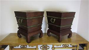 Pair Qing Dynasty Ice boxes with metal inner layer