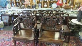 Set of Eight Armed Rosewood Chairs