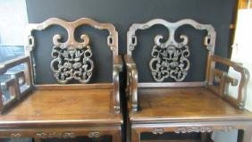 19th Century Qing Dynasty Carved Rosewood Chairs