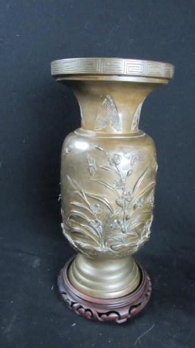 Old Bronze Vase with Floral Design