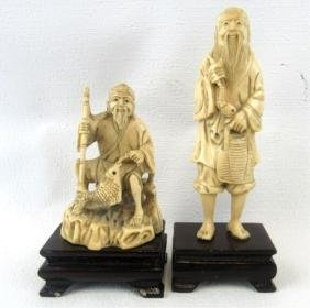 Chinese Whitewood carved figurines