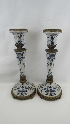 Chinese Export Bronze and Porcelain Candlesticks