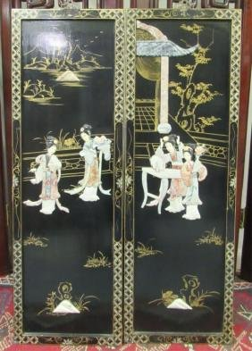 20th Century Carved and Painted Screen Panels