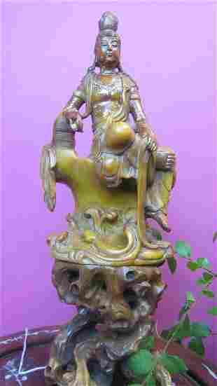 Carved Tianhuang Soapstone and Gold Guanyin Statue