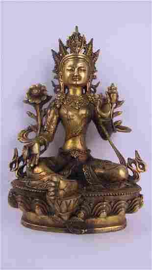 Chinese Bronze and Gold Gilt Buddha
