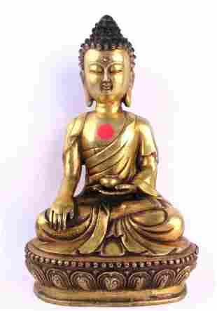 Bronze Buddha Statue Marked Height 12