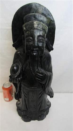 20th Century Dark Green Jade Statue