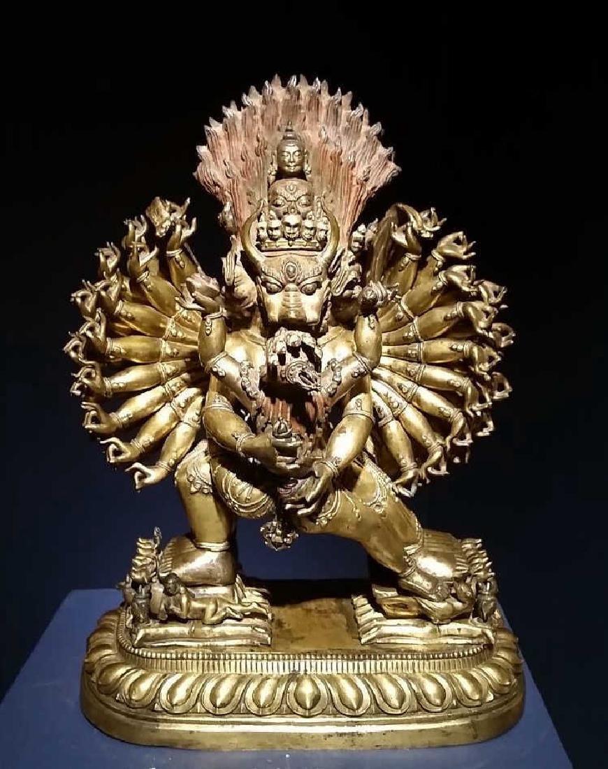 A Large  Gilt Bronze Figure of Mahkala