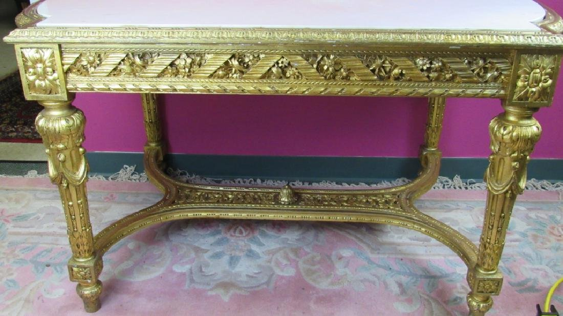 Great French Gilded Wood Table with Marble Inlay - 3