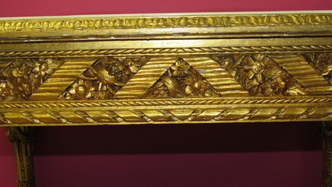 Great French Gilded Wood Table with Marble Inlay - 4