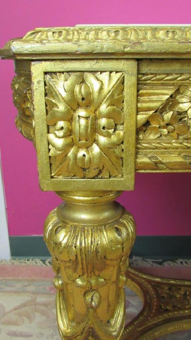 Great French Gilded Wood Table with Marble Inlay - 5