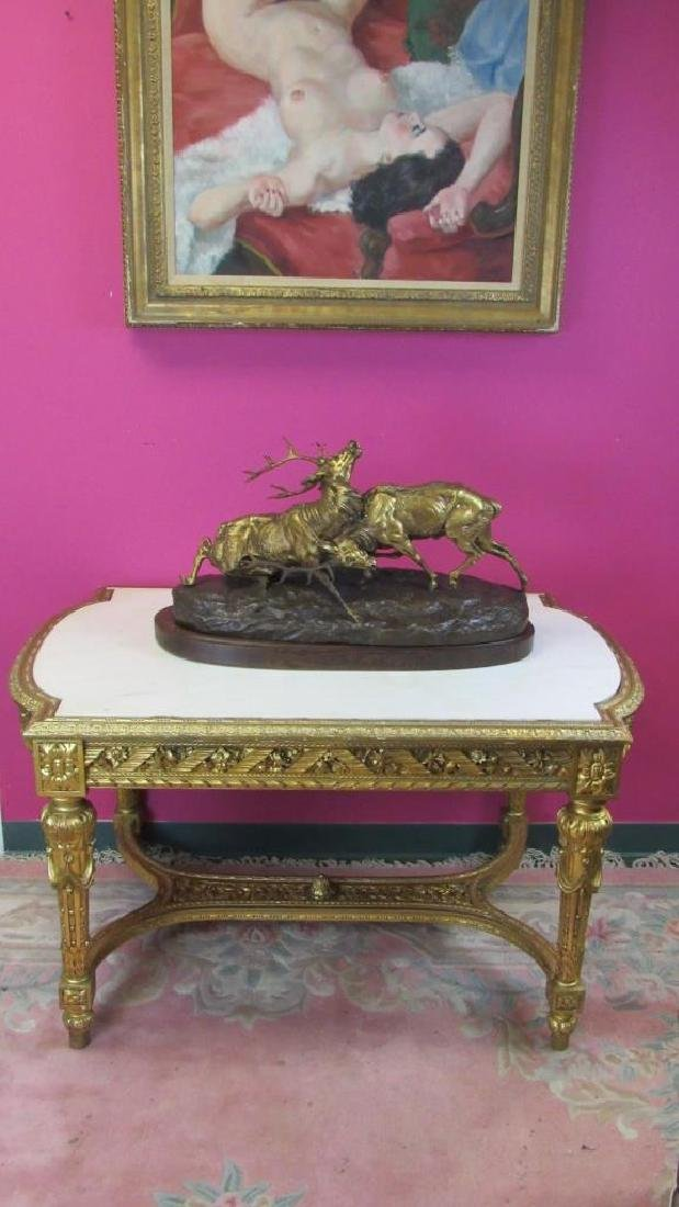 Great French Gilded Wood Table with Marble Inlay - 6