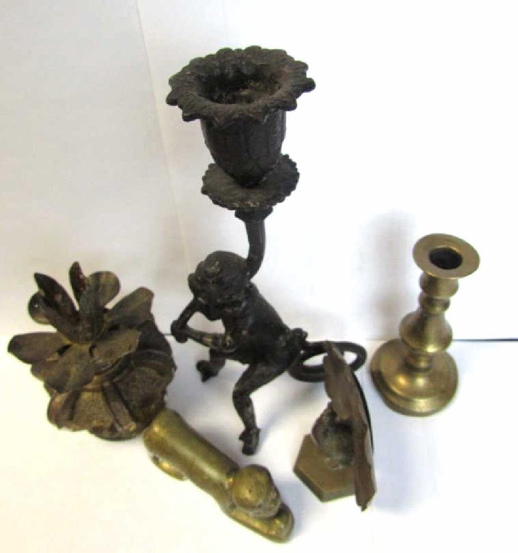 Lot of Bronze Candle Holders and Pen Holders