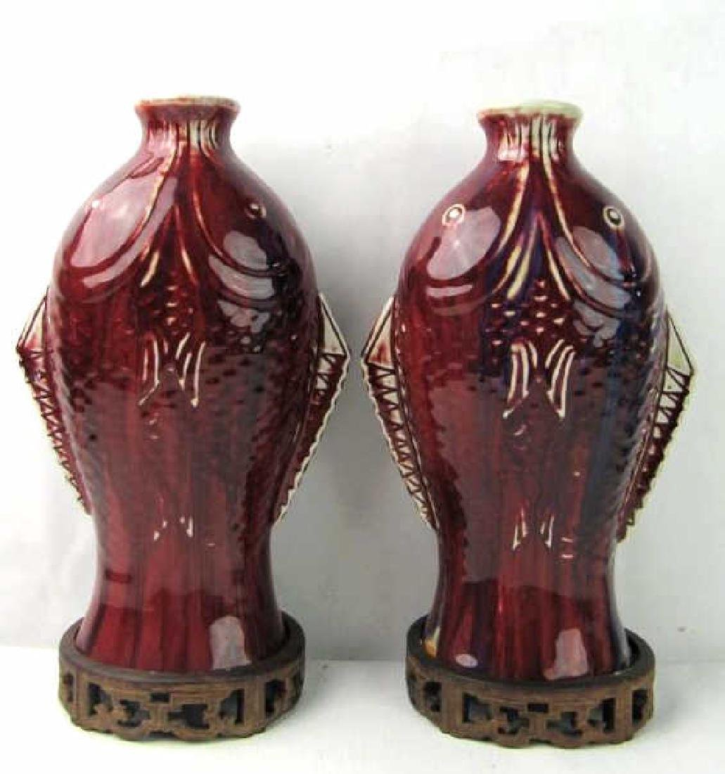 Pair of Chinese Streaked Copper Fish-Red-Glazed Va