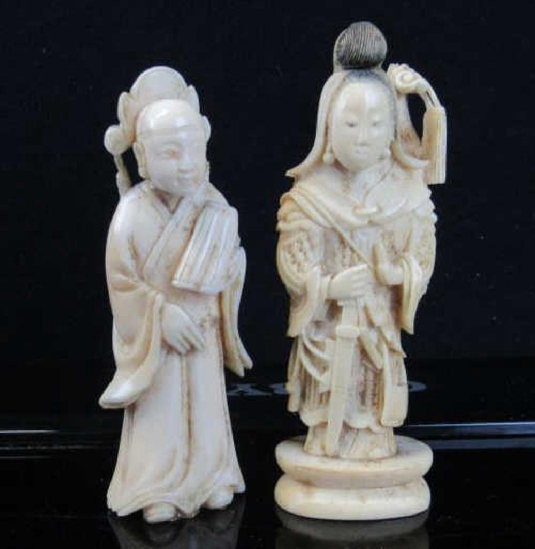 Pair of White Wood Figurines