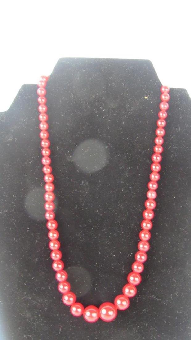 Vintage Red Tournamine Bead Necklace