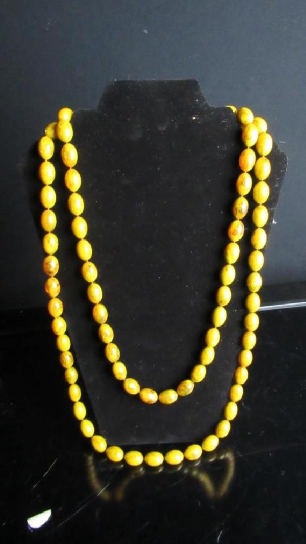 Vintage Beeswax bead Buddha necklace