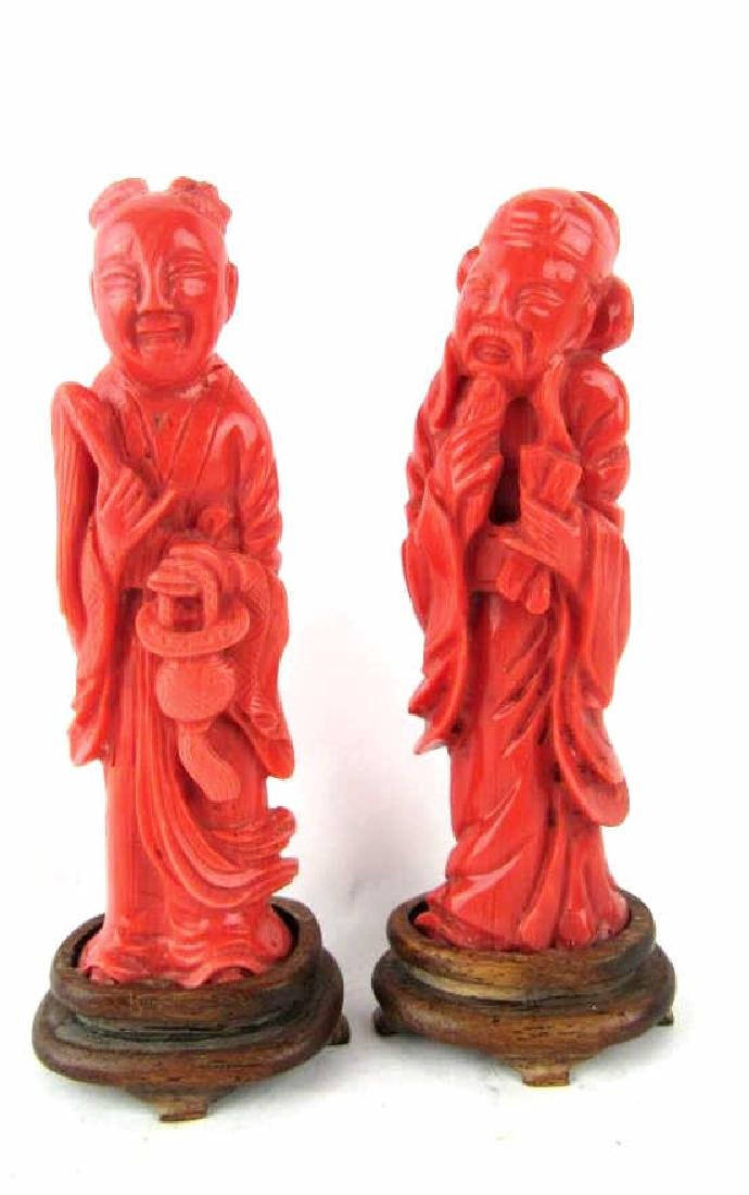 Two Chinese Coral Figures
