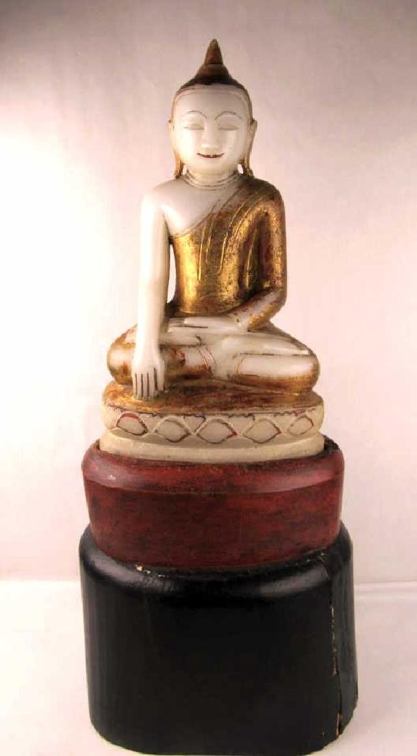 Qing Dynasty Style White Jade Buddha