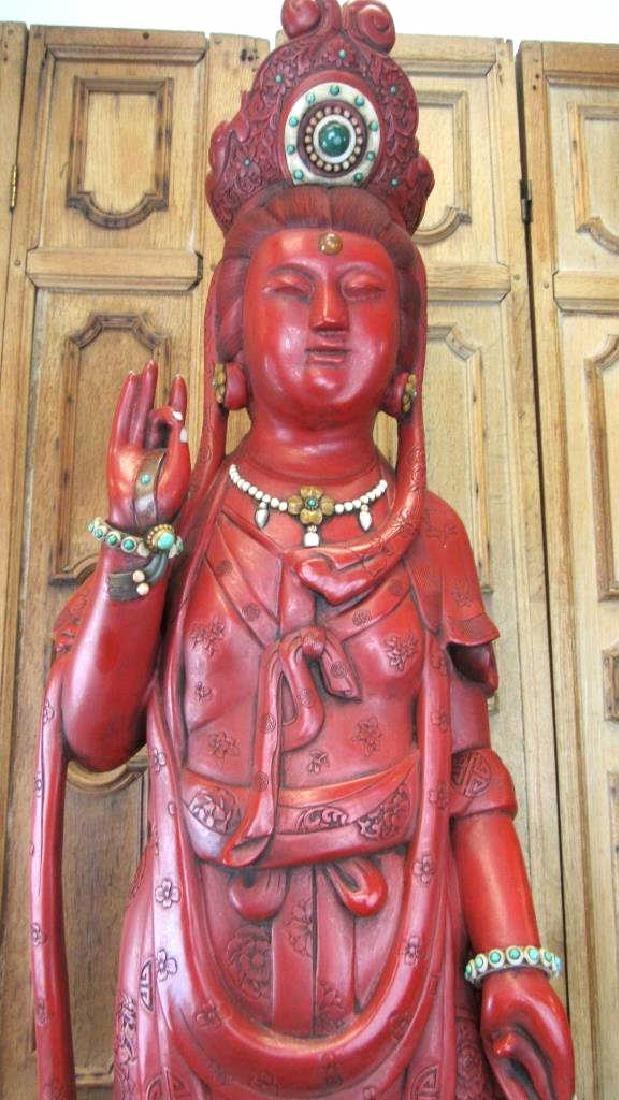 19th Century Qing Dynasty Wooden Guan Yin Statue