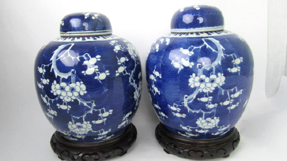 Qing Dynasty Blue Whie Pair of Jars