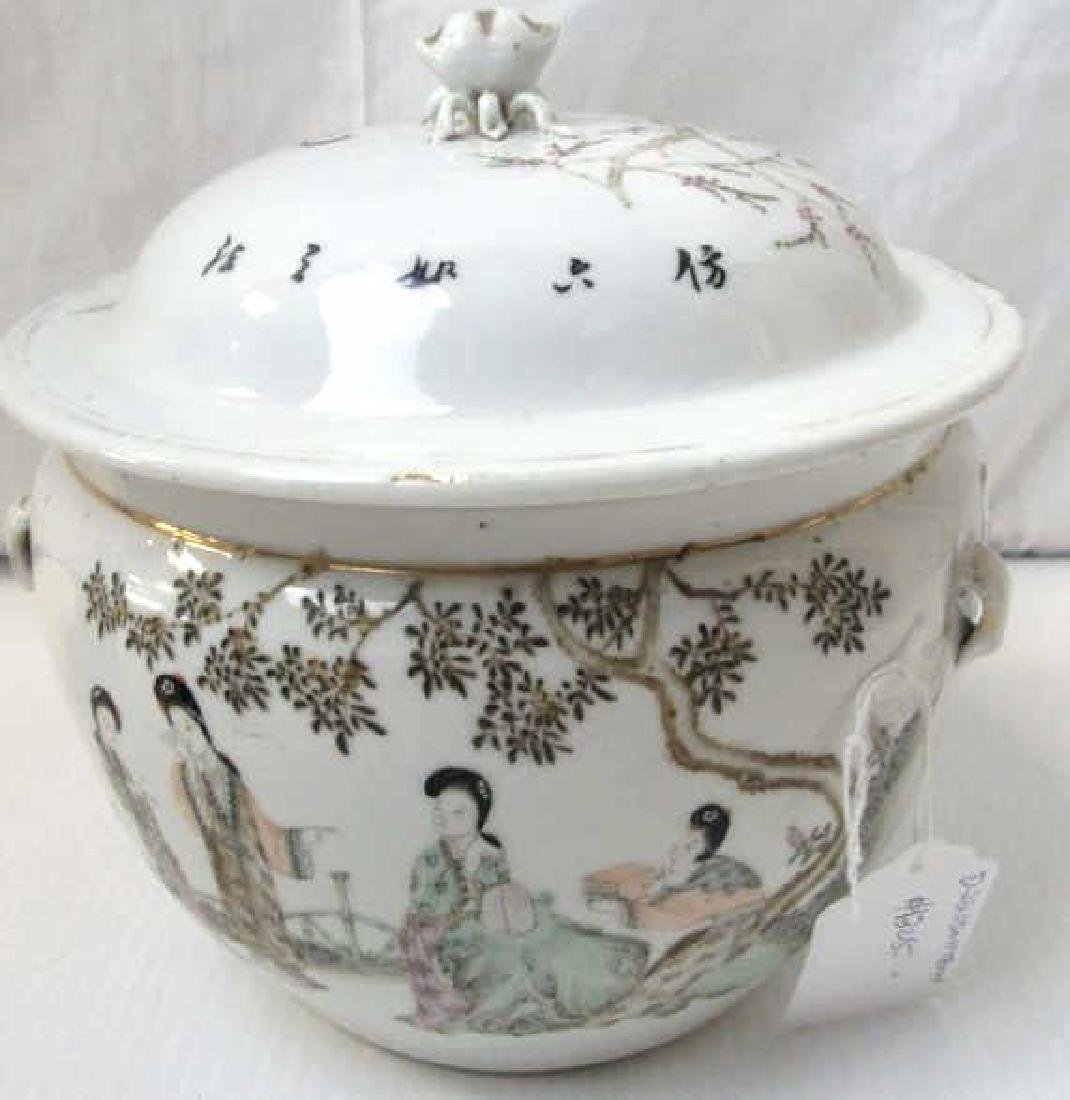 Enameled Porcelain Soup Tureen with Lid