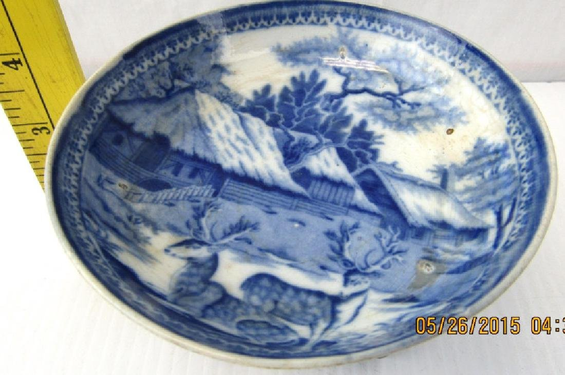European Antique Blue and White Plate
