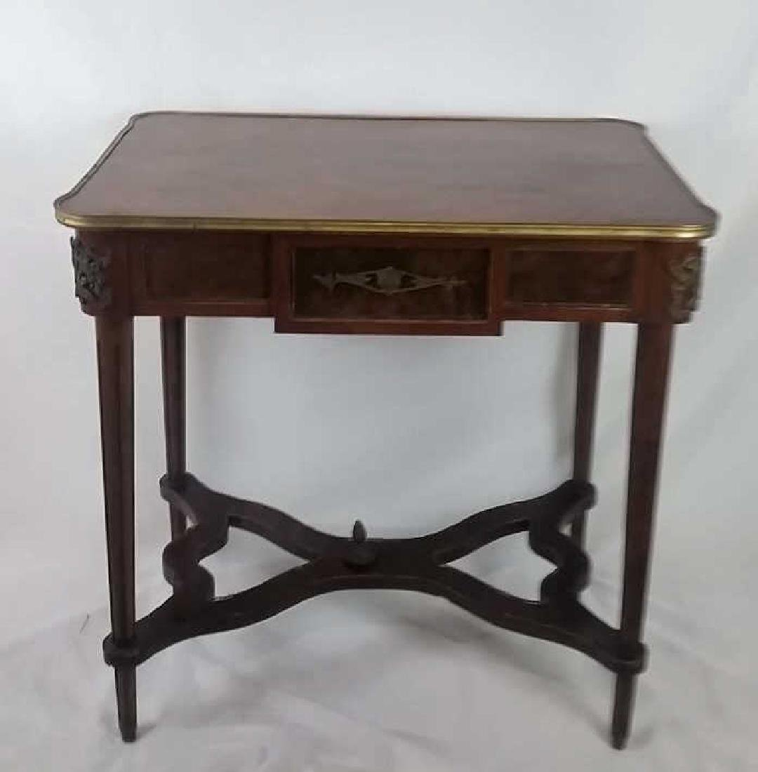 Floral Inlaid Mahogany Side Table