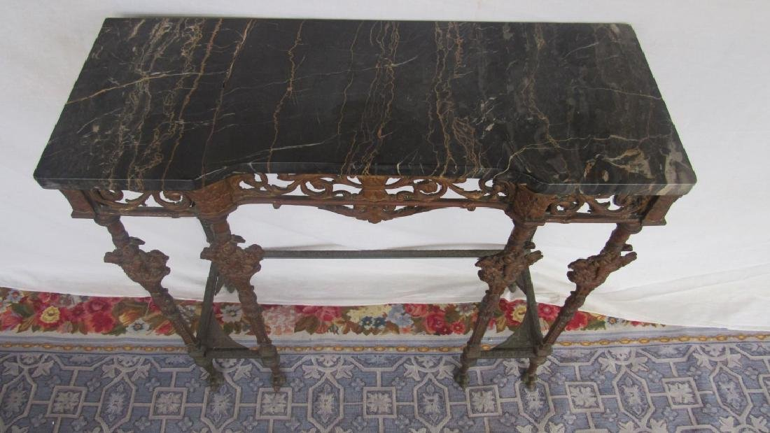 Marble Top Bronze Hall Table