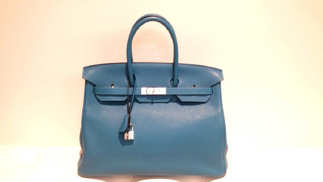 Turquoise Clemence Leather Birkin 35 Bag