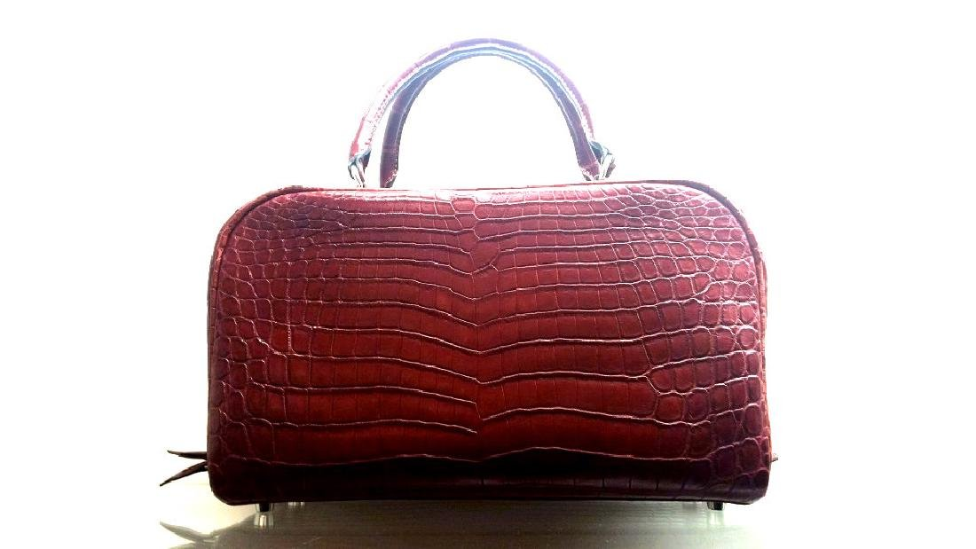 A Matte Rouge H Nilo Crocodile Sac En Vie Bag
