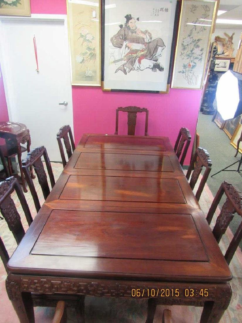 Chinese Rosewood Dining Table set with 8 chairs