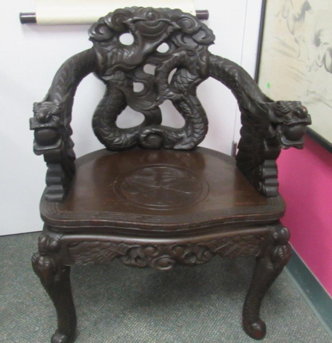 Qing Dynasty Hardwood Dragon Chair