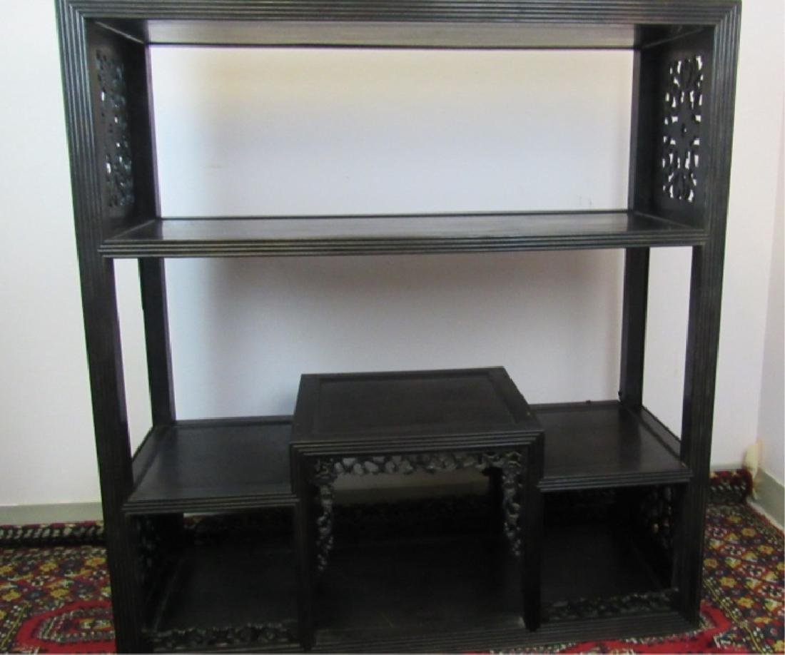 19th Century Qing Dynasty Zitan Wood Antique Shelf