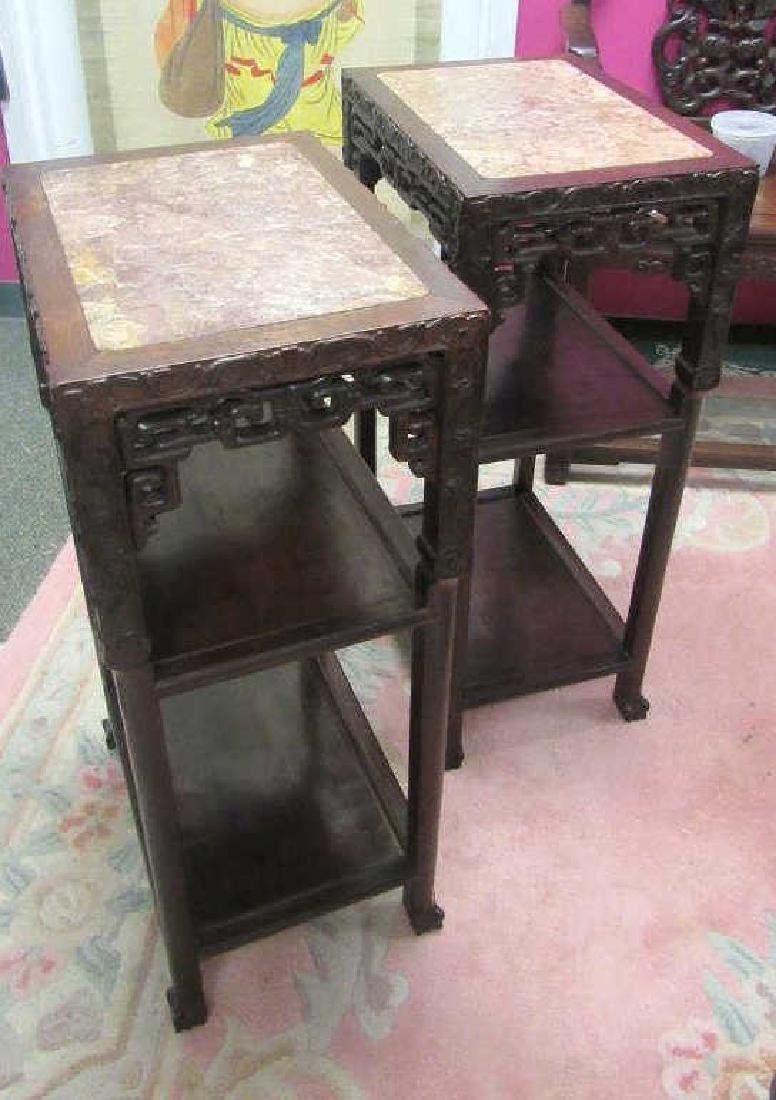 Pair of 19th Century Qing Dynasty Rosewood Stand
