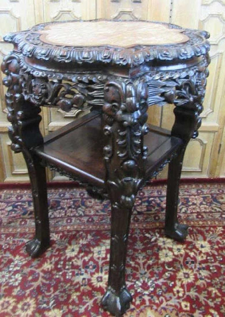 19th Century Chinese Carved Rosewood Stand
