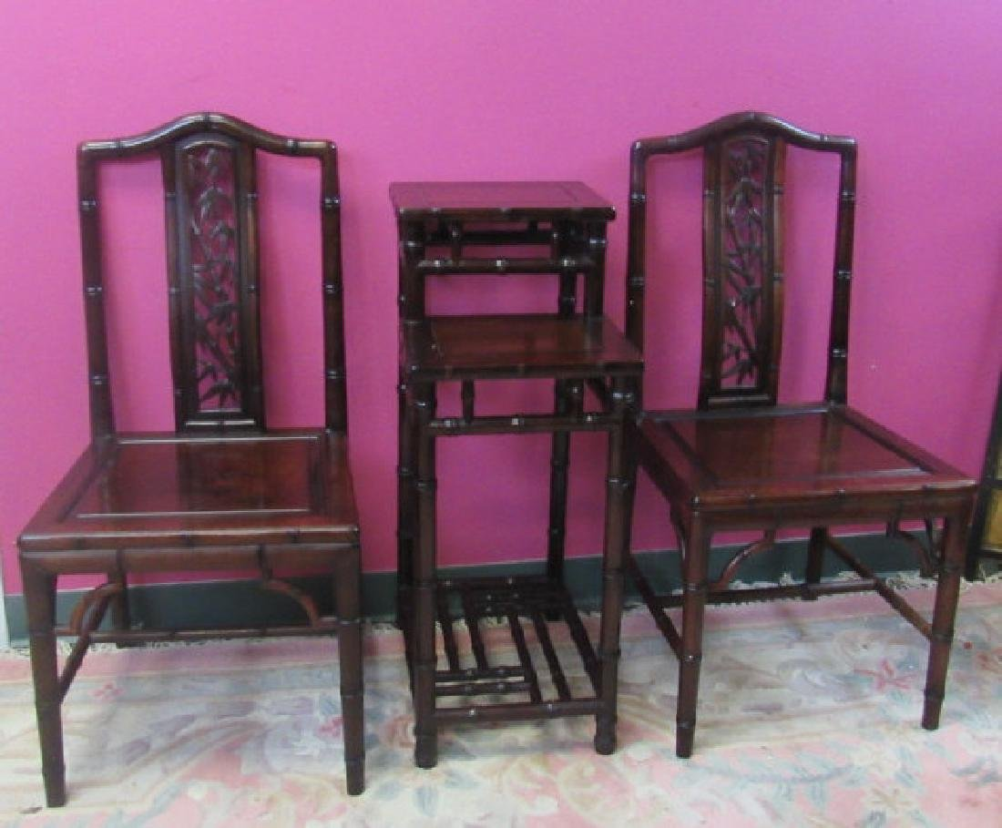 Three Chinese Huanghuali wood chairs and standing