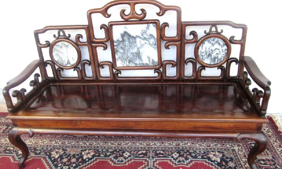 19th Century Chinese Huangua Hainan Marble Bench