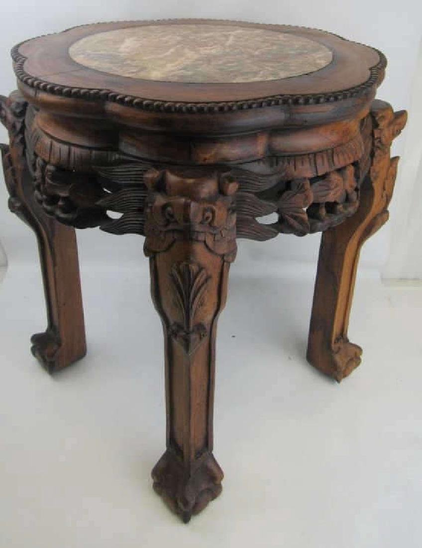Chinese Rosewood Plant Stand with Marble Inlay