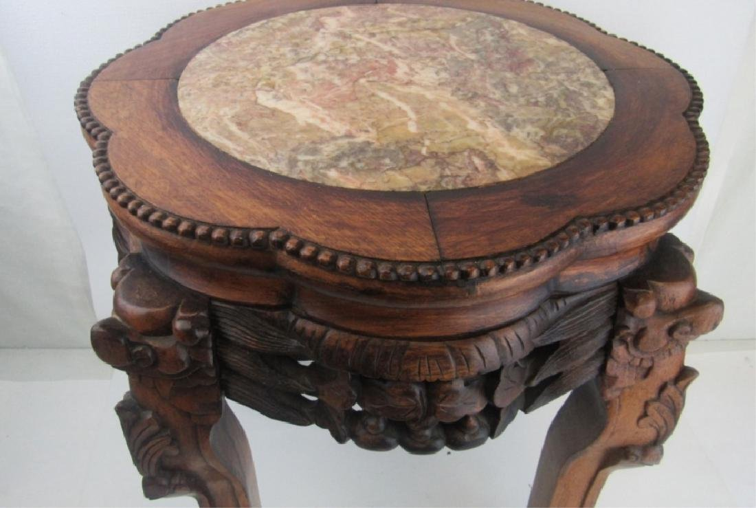 Chinese Rosewood Plant Stand with Marble Inlay - 2