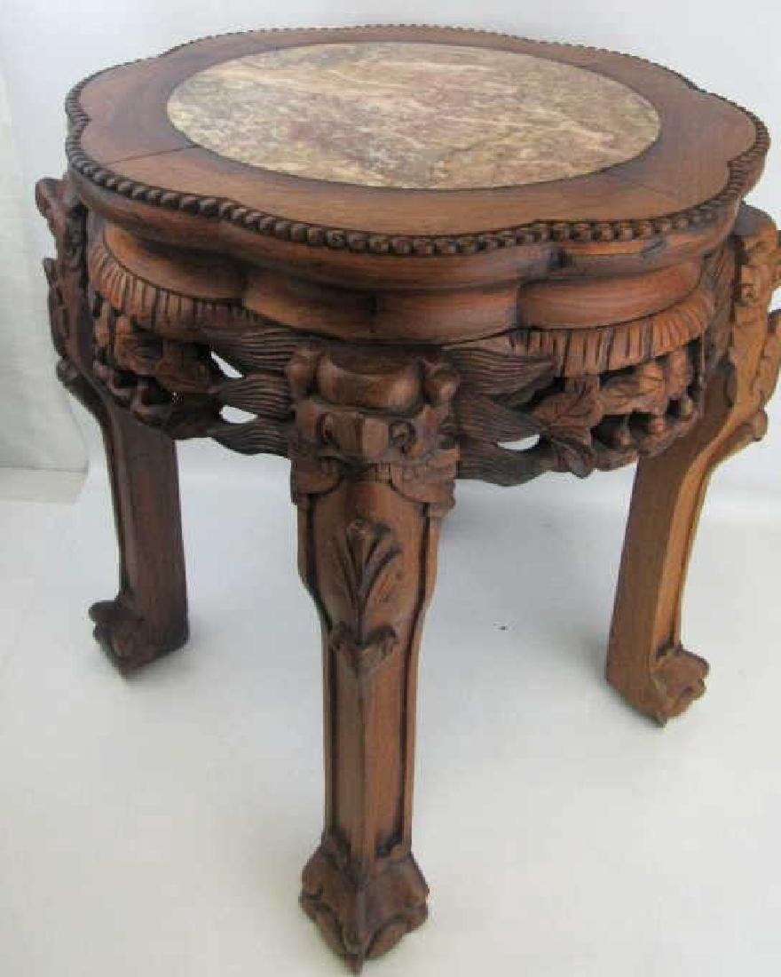 Chinese Rosewood Plant Stand with Marble Inlay - 4