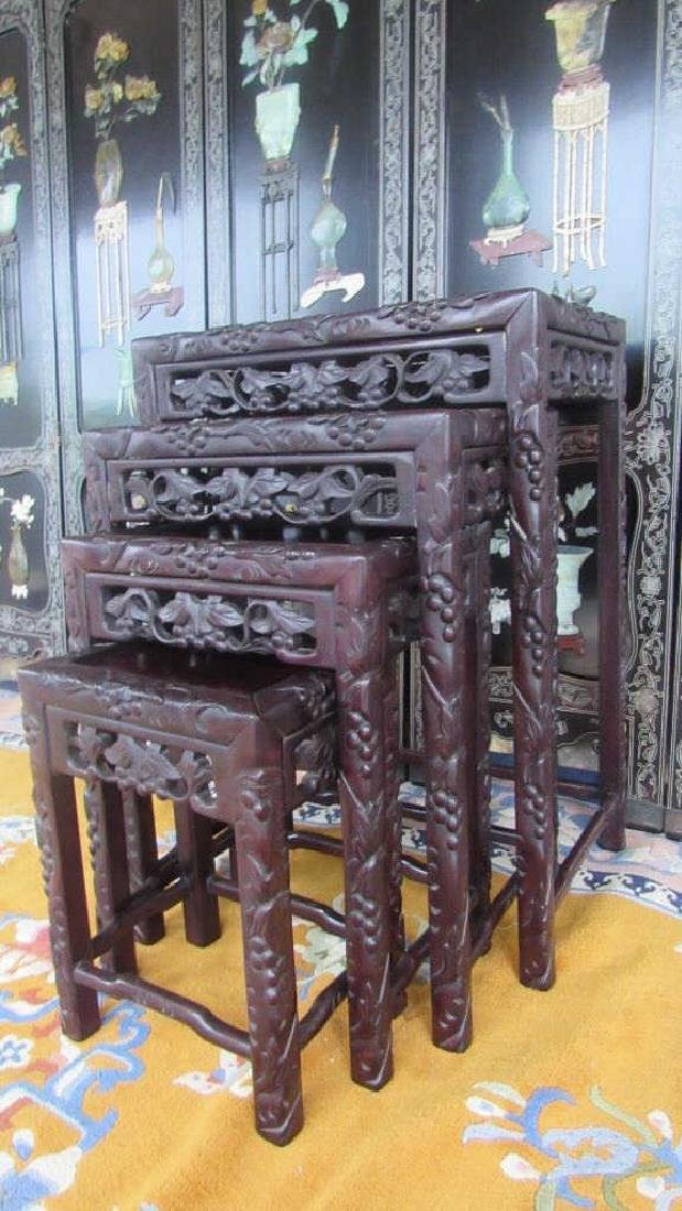 Set of Four Chinese Qing Dynasty Zitian Side Table