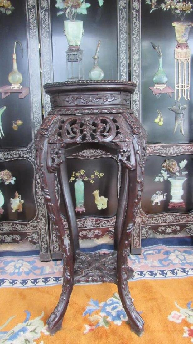 Very Nice Rosewood Plant Stand with Marble Insert