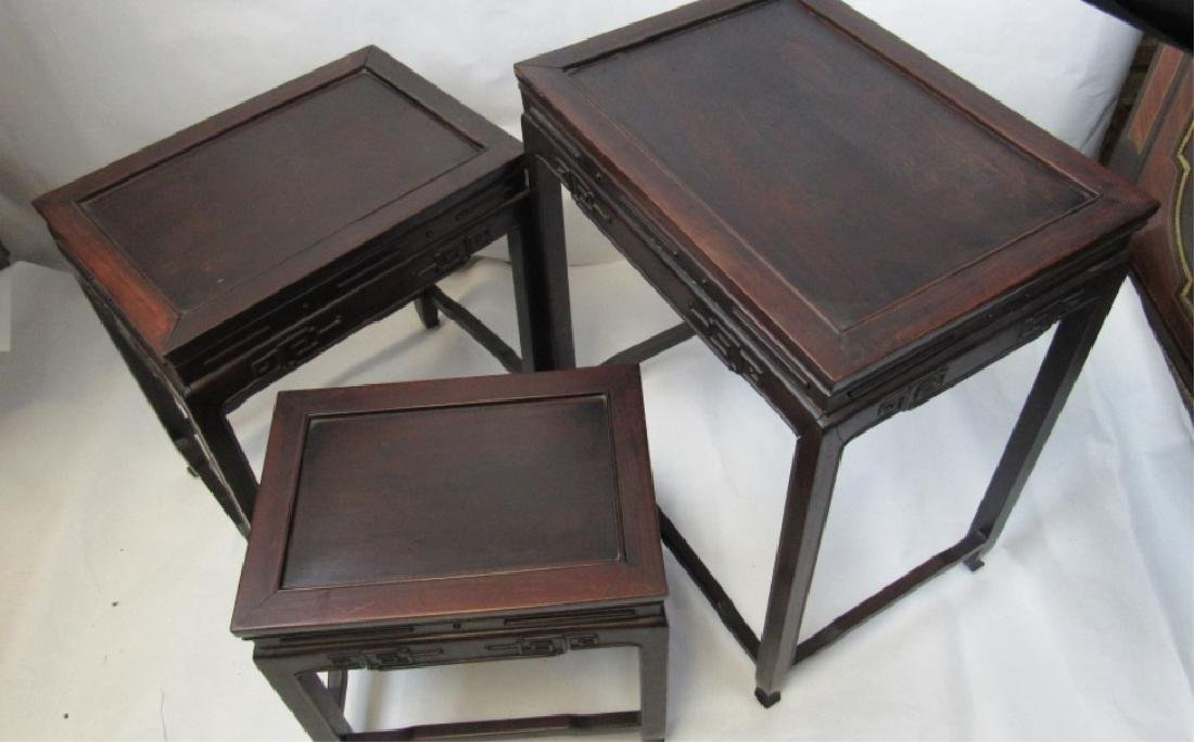 Set of Three Various Sizes Rosewood Nesting Tables